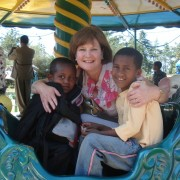 Bev Critchley with some children in Ethiopia