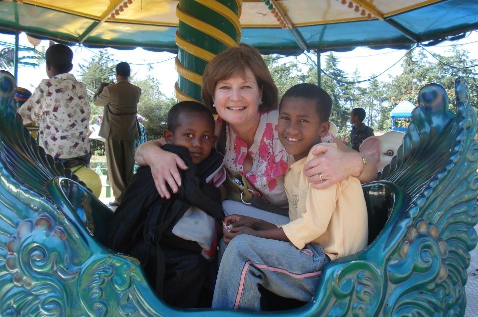 Meeting sponsored children in Ethiopia